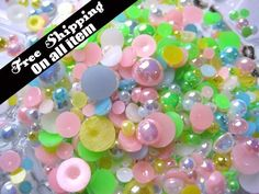 Shiny+Pearlized+AB+Color+Cabochon+3mm8mm+Mix+500+by+MayanSupplies,+$3.95