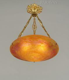 DAUM 1925/1930 French art deco chandelier in gilt bronze holding a bowl by Daum freres.  (paravas - ebay)