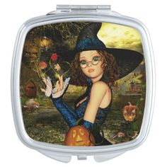 Cute Autumn Witch Compact Mirror. #Witch #Magical #CompactMirror #Witchgift #Magic #Autumn