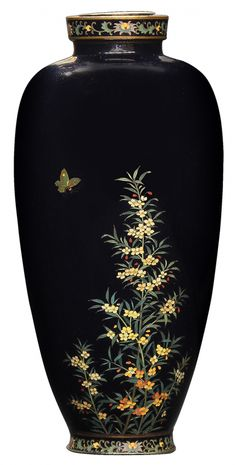 """Japanese Cloisonne Vase by Kin'unken Japanese cloisonne enameled vase, Meiji period, tapering body with short neck, decorated with flowers and a butterfly on black ground, the neck decorated with four small chrysanthemums, the base marked 'Kin'unken', the maker of Kyo-shippo (Kyoto cloisonne), 6""""h"""