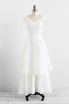 vintage wedding dress / 1950s wedding dress / White Organdy Eyelet Wedding Dress by Bonwit Teller