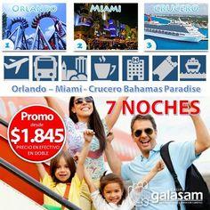 ORLANDO - MIAMI  CRUCERO BAHAMAS PARADISE  7 NOCHES - Desde $1845   SALIDAS desde Guayaquil y Quito AGOSTO:  4 a 11  /  10 a 17  /  14 a 21  PROGRAMA INCLUYE: Boleto aéreo desde GYE y UIO (consultar itinerarios y aerolínea que opera). Traslados aeropuerto Miami - hotel Orlando - hotel Miami - puerto Miami - aeropuerto Miami. Asistencia personalizada en aeropuerto y hoteles. 01 (UNA) noche de alojamiento en Miami según hotel seleccionado. Desayuno continental diario e impuesto hotelero…