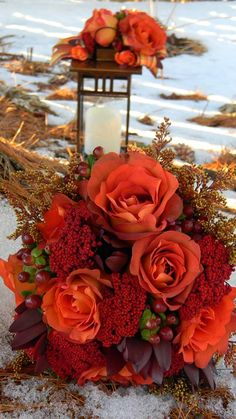 Great colors for fall along with copper accents.  Floral Designs by Jodi