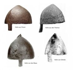 Group of one piece helmets, the late 10th to 11th centuries (except the English one which is a composite). This basic shape of helmet riveted together from four plates was already being made in Roman arsenals long before the Viking age. By the 11th century craftsmen were beating them out from a single piece of iron. Althoug often associated with Normans, this type of helmet was extremely common among Western Slavs, German and French warriors and would have been used by Norse warriors as…