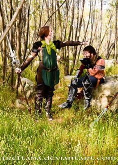 Merrill being Merrill while Hawke looks in bemusement. ~Frolic Time by freltana on deviantART