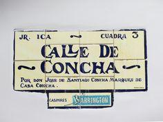 Cacería Tipográfica N° 62: Señal en cerámica con el nombre original del Jirón Ica, Calle de Concha, en el Centro Histórico de Lima.