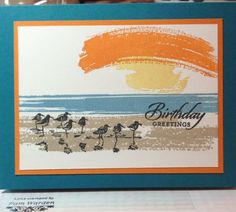 "By Pam Warden. Uses stamps from Stampin' Up ""Wetlands"" and ""Work of Art."" Cased from http://stampingwithmarsha.blogspot.ca/2014/05/sunsets.html?m=1"