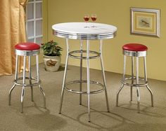"""Explore the 30"""" White Retro Chrome Bar Table Set including all 42"""" high 30"""" round bar table with stools at discount price."""