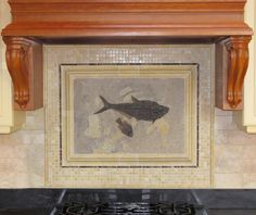 I like this backsplash, the mix of subway tiles and small tiles with trim minus the fish fossil in the middle.