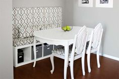 Banquette on a budget: Repurpose inexpensive storage cubes or a cheapie bookshelf to make a cozy dining bench.