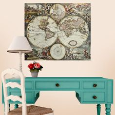 Land and Sea World Map Wall Decal
