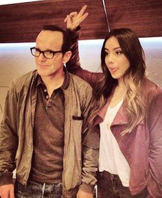 Clark looks her dad who's slightly amused and slightly disappointed Le Shield, Shield Cast, Clark Gregg, Fitz And Simmons, Chloe Bennet, Marvels Agents Of Shield, Phil Coulson, Agent Carter, Guardians Of The Galaxy