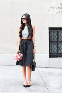 chic summer look - crop top and A-shaped skirt