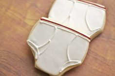 Underwear cookies. Edible undies! Tidey Whiteys! They start out white, but after a while they are just a well traveled road covered in skid marks and yellow oil stains from accidents. Accidents are gonna happen on any road.   #weird #funny #etsy #underwear #cookies #novelty #gaggift #humor