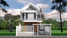 Home Design Plan with 2 Bedrooms - SamPhoas Plan Modern Bungalow House, Bungalow Exterior, Bungalow House Plans, Dream House Plans, Small House Plans, House Floor Plans, Two Storey House Plans, One Storey House, Moore House