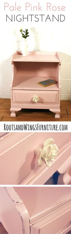 Painted nightstand in custom color mix of General Finishes Milk Paint.  Refinished by Jenni of Roots & Wings Furniture.
