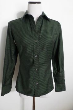 BANANA REPUBLIC Green Striped Fitted Long Sleeve Button Down Blouse Shirt Size S