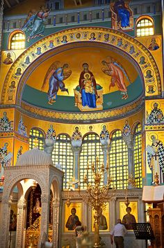 Reconstucted Byzantine style frescos of the 4th century AD 3 aisled basilica of Saint Demetrius, or Hagios Demetrios, a Palaeochristian and Byzantine Monument of Thessaloniki, Greece. A UNESCO World Heritage Site.