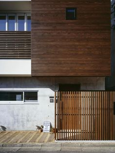 [エクステリア2 木製ルーバー image] Halfway House, Cement Siding, Wood Facade, Concrete Wood, Japanese Architecture, Home Remodeling, Ideal Home, Building A House, House Design