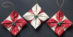 Folded Fabric Ornaments. Learn how to make these super easy sewn and folded fabric Christmas ornaments! These make great last minute gifts for friends, fam