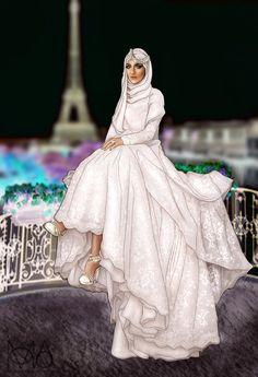 Arab Fashion, Islamic Fashion, Angel Illustration, Girl Cartoon Characters, Formal Bridesmaids Dresses, Girly M, Anime Muslim, Hijab Cartoon, Girly Drawings