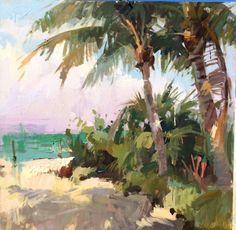 palms at Isla Seascape Paintings, Nature Paintings, Beautiful Paintings, Watercolor Paintings, Watercolors, Watercolor Landscape, Landscape Art, Hawaiian Art, Painting & Drawing
