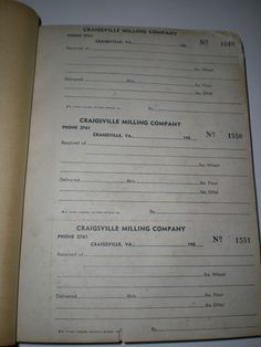 CRAIGSVILLE MILLING COMPANY VA RECEIPT BOOK-OVER 300 RECEIPTS UNUSED-1950's #CRAIGSVILLE