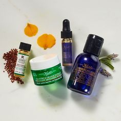 Like to stay up late? Use these Kiehl's essentials before bed to wake up to refreshed skin!  1. Nightly Refining Micro Peel with Quinoa Husk Extract 2. Cilantro and Orange Extract Pollutant Defending Masque 3. Midnight Recovery Concentrate- our 99.8% natural facial serum. 4. NEW Midnight Recovery Botanical Cleansing oil.