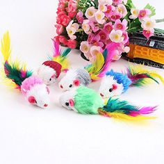 Pack of 5 Furry kitten Mice Cat Toys with Feathers and Fur >>> Find out more about the great product at the image link.