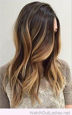 Cute rooty brunette ombre hair