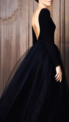 dress black dress black tulle low back long sleeve