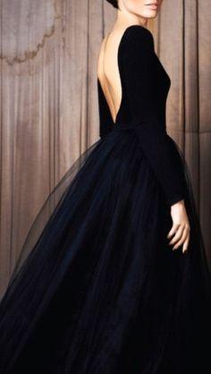 dress black dress black tulle low back long sleeve I'm feeling Prom coming on!!!
