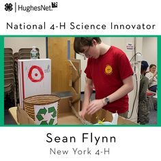 Join 4-H and HughesNet in congratulating New York 4-H'er Sean Flynn, one of two recipients of the #4H Science Innovator Award! He will be joining Colleen Murray as the two take part in this year's national #4HNYSD event in Washington, D.C.!