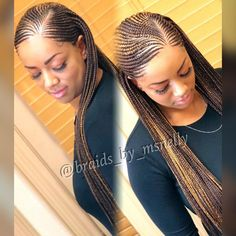 Small feeder braids, long braids, neat braids, plaits #blackhairstylesbraids