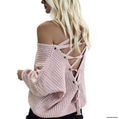 Chicwish Women's Comfy Casual Warm Long Sleeve Pink / Light Tan / Grey / Army Green Lace up Back Knit Top Pullover Sweater