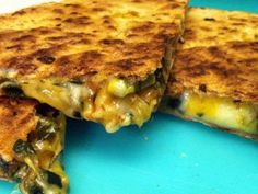 Quesadillas - overflowing with veggies between whole wheat tortillas - are a healthy dinner option.