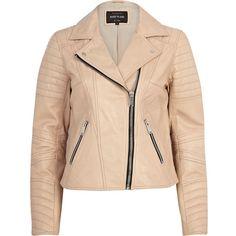 River Island Light pink leather biker jacket (£120) found on Polyvore