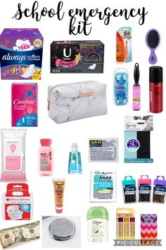 Back to school emergency kit for girls. School supplies tip for keeping in their locker or gym bag.This is for girls NOT BOYS tell me if a boy does try this. Back To School Tips For Middle SchoolThis is for girls NOT BOYS tell me if a boy does try thisA L Middle School Supplies, Middle School Hacks, High School Hacks, School Kit, Life Hacks For School, School Study Tips, Diy School Supplies, School Craft, College Hacks