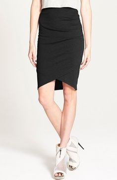 Women's Leith Ruched Body Con Skirt, Size Large - Black
