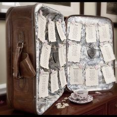 Another great way to do a wedding seating plan - in a suitcase!