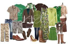 greens, tans, greys, blues, browns