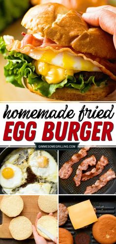 Sure easy meals any time of the day with the best fried egg burger recipe! Nothing beats a good stack of burger, bacon, cheese and over-easy eggs. You'll definitely want more. Try this amazing dish now! Grilled Burger Recipes, Best Burger Recipe, Beef Steak Recipes, Sandwich Recipes, Cold Sandwiches, Dinner Sandwiches, Summer Grilling Recipes, Summer Recipes, Fried Egg Burger