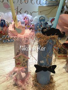 Πασχαλινές λαμπάδες με πουλάκι κλουβάκι & little man!  www.nikolas-ker.gr Decorated Candles, Easter Ideas, Happy Easter, Decoration, Baptisms, Globes, Happy Easter Day, Decor, Decorating