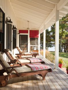 Add a Flannel Blanket It's always a great idea to choose outdoor furniture in neutral colors and change the look with accessories. While in the summer you may add brightly colored floral throw pillows, in the fall a flannel blanket is the perfect addition when the temperature starts to drop. #WeDesignDreams