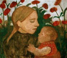 Paula Modersohn-Becker - German Expressionism - Young Girl with Baby - Mädchen mit Kind