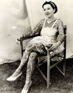 old photography tattooed woman