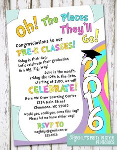 Pre School Graduation Invitation New Kindergarten Graduation Invitations Kinder Graduation Graduation Theme, Graduation Invitations, Preschool Classroom, Preschool Activities, Preschool Gifts, Kindergarten Graduation, Preschool Graduation Songs, Pre K Graduation Songs, Pre School Graduation Ideas