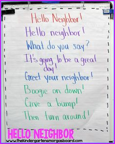 Hello Neighbor is a great morning meeting greeting.  It involves reading and movement as part of the greeting!  Great for building reading fluency also!  MORNING MEETING GREETING!