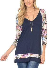 Look at this Goo Yoo Navy & Lilac Floral-Sleeve Tunic on #zulily today!