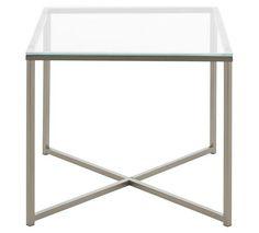 Quadratischer Beistelltisch aus Metall und Glas